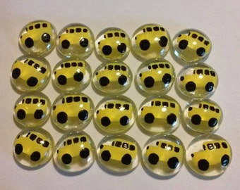 School bus buses Glass Gems hand painted party decorations favors. Mini art