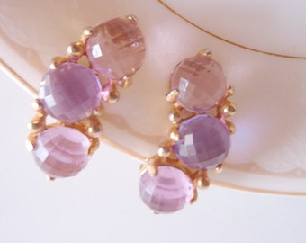 1960's Earrings, Shades of Purple half dome Faceted glass