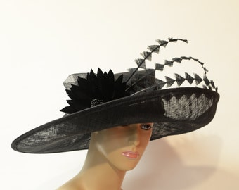 New High Quality Black Sinamay wide brimKentucky Derby,Preakness,Melbourne Cup,English Royal ,Wedding, Carriage driving hats
