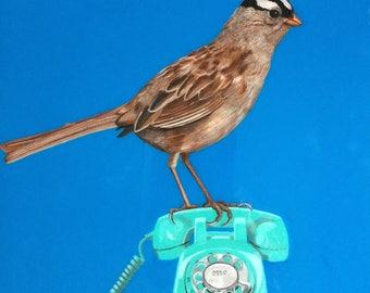 Sparrow Bird Painting, Sparrow Painting, Sparrow Painting with Blue, One of a Kind Bird Painting