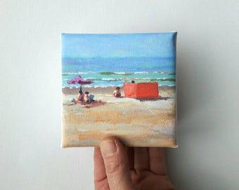 small canvas beach print, landscape painting , beach print, print on canvas, artprint, small painting, tiny canvas, mini canvas 4x4 print