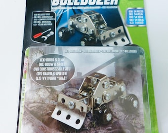 assemble building kit of a bulldozer in 54 pieces of metal tools included building up your bulldozer machine