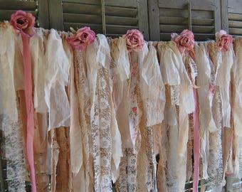 Rustic Lace Garland, Wedding Garland, Shabby Chic, Boho Decor, Lace, Ivory, Pink, Burlap, Roses, Banner, Nursery, Tattered, Photo Backdrop