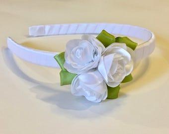 White Rose Trio Headband