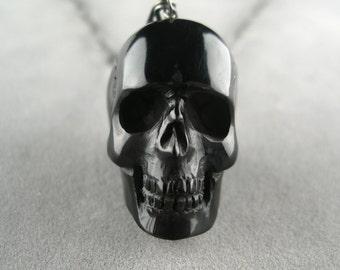 Black Skull Necklace Hand Carved
