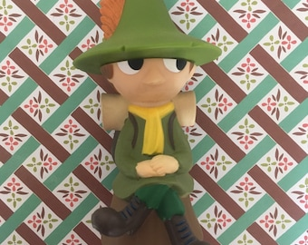 Kawaii Snufkin (Moomin' friend) rubber figurine toy / coin bank / piggy bank from Japan