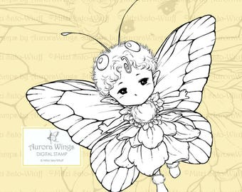 PNG Digital Stamp - Butterfly Sprite with Simple Wings - Whimsical Insect Fairy - Fantasy Line Art for Cards & Crafts by Mitzi Sato-Wiuff