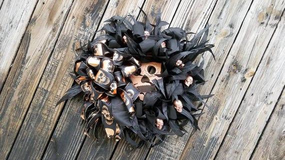 Halloween Wreath, Copper and Black Skull Wreath