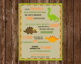 Dinosaur Birthday Invitation, Dinosaur Party, Dino Party, Boy Birthday