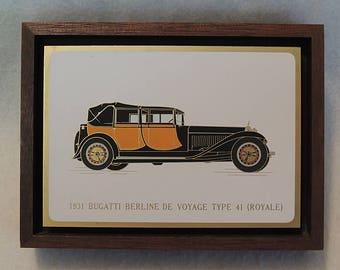 Original vintage Auto Plaque Picture.. Acid Etched Metal & Enamel.. 1931 BUGATTI
