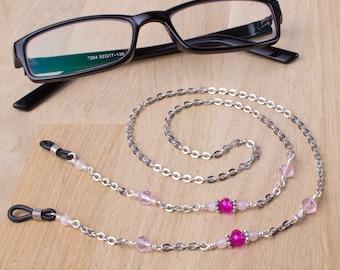 Rose quartz Eyeglasses chain - gemstone and pink bead glasses cord | Sunglasses lanyard necklace | Silver eyewear neck chain | Glasses chain