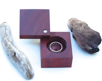Bloodwood Modern Ring Box | Engagements & Weddings | Heirloom Ring Box | Anniversary Gift |