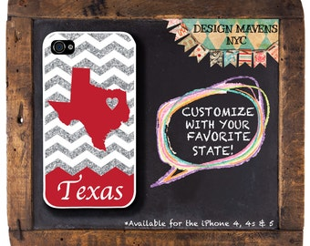Texas Glitter iPhone Case, Gift for Her iPhone, Personalized iPhone Case, iPhone 4, 4s, iPhone 5, 5s, 5c, iPhone 6, 6s, 6 Plus, SE, iPhone 7