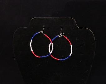 Forth of July Hoop Earrings/ Red, White and Blue Hoops/Beaded Hoops/ Seed Bead Hoops