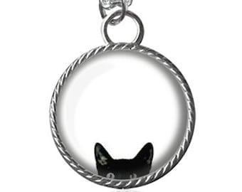 Cat Necklace, Peeking Black Cat Pendant Image Key Chain Handmade