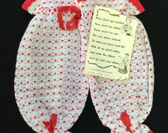 Vintage Red and White Wash Cloth/Towel That Look Like a Pair of Britches or Bloomers