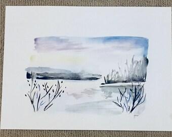 Snowy River || original watercolor ||home decor