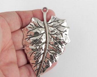 Leaf Focal Pendant Charm - Antiqued Silver - 69mm x 49mm
