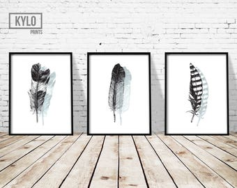 Feather Print Set, Wall Art, Printable Art, Office Decor, Home Decor, Feather Printable, Feather Art, Scandinavian Print, Digital Download