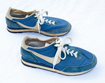 True Vintage 80's Nike Waffle Soled Shoes - 1980's - Sneakers Waffle Sole Running - Footwear - Mens 9 - Athletic Shoes - Blue - 80s 1980s