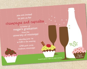 Sweet Wishes Champagne and Sprinkles Party Invitations - PRINTED - Digital File Also Available