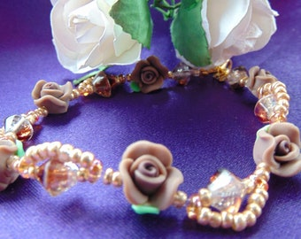Crystal and Roses Bracelet