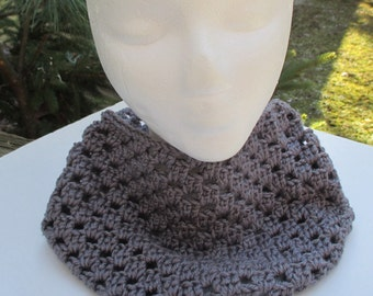 Crocheted Cowl - Grey Neck Warmer, Infinity Scarf, Cowl
