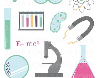 Science Clip Art Set-goggles, Petri dish, microscope, test tubes, eps, png, jpeg, instant download