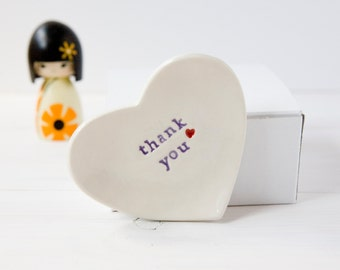 thank you gift ring dish ceramic jewellery trinket catcher