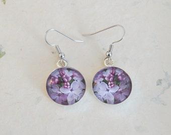 Lilac earrings, Round dangle earrings, 18mm, Flower jewelry