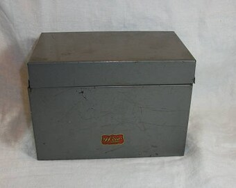 Vintage Gray Metal Weis File Box Industrial Monroe Mich. Office