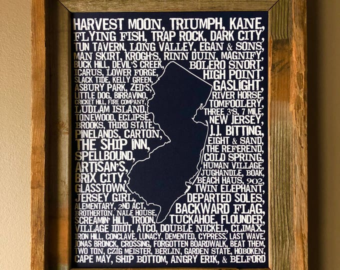 Beers of New Jersey Word Map (Dark Blue) - Unframed