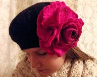 Felt Hat Felt beret Wool Felt Women Hat Fuksia Flower Felt Black hat Wet Felting Art felt Merino Wool Handmade 100%  Wool