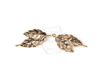 PDT-519-MG/2Pcs- Cubic Zirconia leaf Pendant/ 12mm X 25mm/Gold Plated over brass