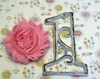 """House Mailbox """" Number 1 One """" 4.5 Inches Cast Iron White Shabby Elegance Distressed Victorian Swirl Table Address Accent Number #1"""