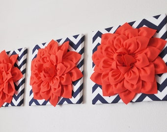 """Home Decor Wall Hanging SET OF THREE -Coral Dahlia on Navy and White Chevron 12 x12"""" Canvas Wall Art- Flower Wall Art"""