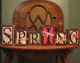 Spring Sign, Spring Decor, Easter Sign, Easter decor,  Spring Word Blocks, Easter Word Blocks