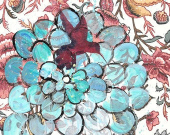 For The Birds - original painting, Magenta Hummingbird and Blue Zinnia Flower painted on Vintage Wallpaper