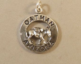 OATMAN ARIZONA BURRO Sterling Silver Charm Pendant Black Mountains Route 66 Tourist Travel Donkey Mule Animal New tr18