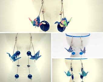Origami earrings paper crane make your pair in shades of blue -MADE TO ORDER