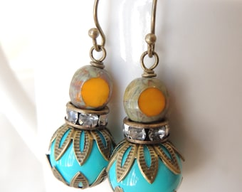 Vintage Style Earrings, Turquoise and Yellow Glass Beads Earrings, Antiqued Brass Filigree Bead Caps, Bridesmaid Earrings, Summer Earrings