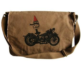 Biker Gnome Mens Messenger Bag Nordic Gnome Cool Gift for a Biker Biker Messenger Bag Canvas Messenger Bag Gift for Him Hand Printed