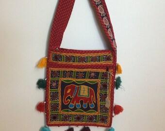 Shoulder Bag Hand Embroidered with Elephant Motif