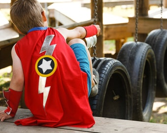 Lightning flash cape... superhero cape... red