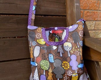 Forest Friends - brownand purple - 2 in 1 peg bag / Clothespin bag - Original Beaky design