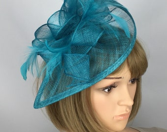 Teal Fascinator Turquoise Fascinator Teardrop Fascinator Wedding Mother of the Bride Ladies Day Ascot Races Formal Occasion