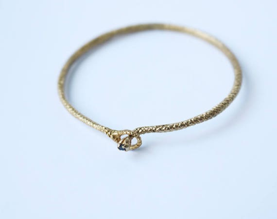 Brass Snake Bangle with Black Spinel   handmade jewelry