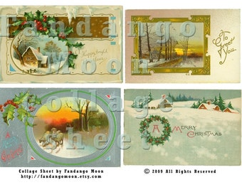 Christmas Winter Holiday Themed Vintage Postcard Digital Collage Sheet Holly Snow Scene