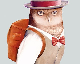 Travelling Owl print, Owl Illustration, Kids room decor,