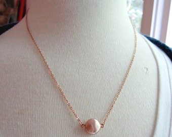 Rose Gold Pearl Necklace, Swarvoski Coin Pearl, Peach Champagne Modern Jewelry, Redpeonycreations